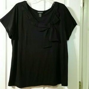 Lane Bryant Black Short Sleeve Ruffle Bow Shirt